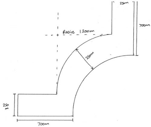 Drawing plan for a custom planter on a curved wall