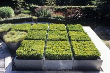 Grid planters in a garden design