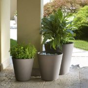 Ribeira Plastic Plant Pot in Light Brown
