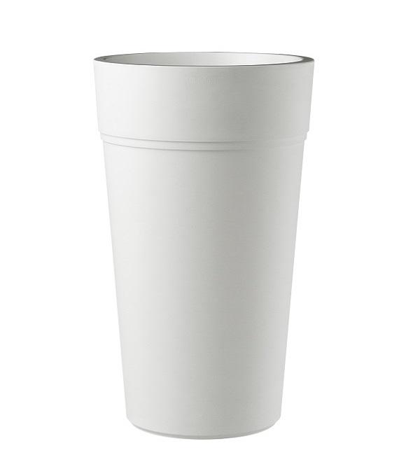 A tall white composite planter in white