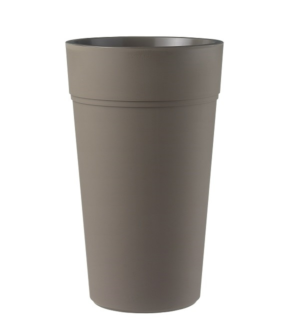 A round composite planter in brown
