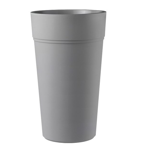 A tall and round composite planter in grey