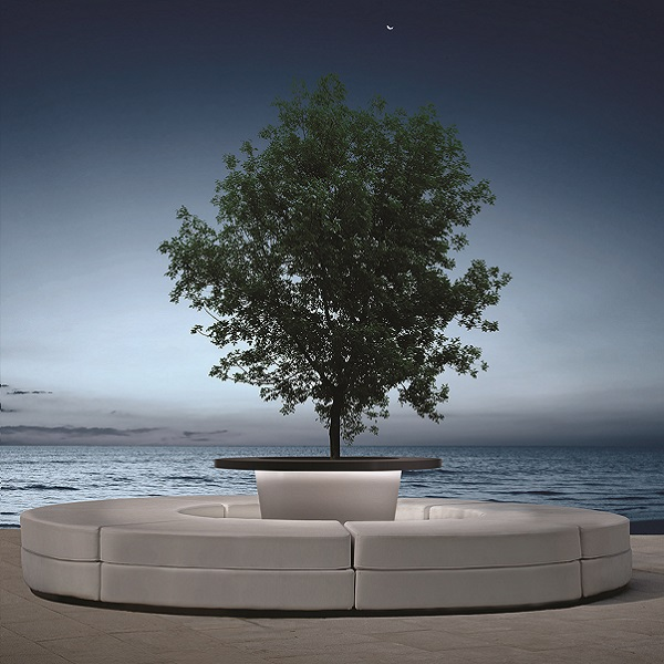 Luciano composite planter with a large tree