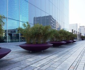 Large commercial plant pots in purple