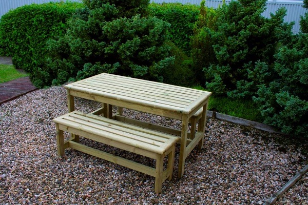 Pleasant Square Table Bench Set Timber Garden Seating Taylor Gmtry Best Dining Table And Chair Ideas Images Gmtryco