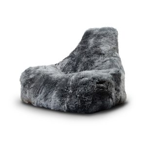 grey fur bean bag