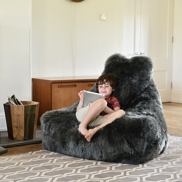 kid on fur bean bag